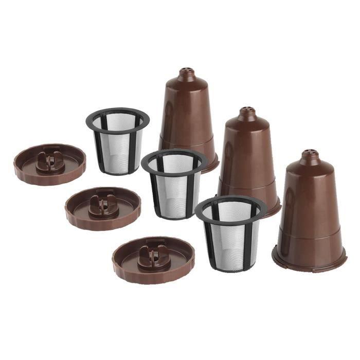 Réutilisable K Tasses pour Keurig Brasseurs Maison B3,B40,B45,B50,B55,B60, b65, B70,B75 Série Rechargeable Filtre À Café marron