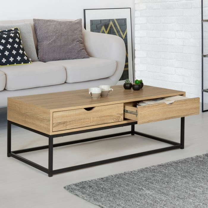 ID MARKET - Table basse 2 tiroirs DETROIT design industriel