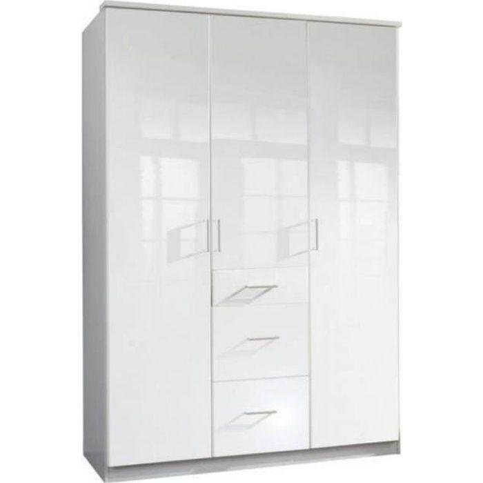 Armoire COOPER 3 portes 3 tiroirs largeur 135 laqué blanc blanc Bois Inside75