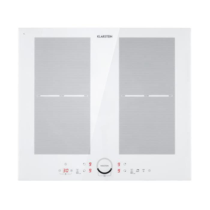 Klarstein Delicatessa 60 Table de cuisson à induction encastrable - 4 zones modulables - 7000W max. - Vitrocéramique - Noire