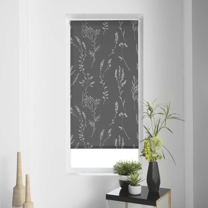 Store tamisant Imprimé métallisé 45 x 180 cm polyester forelista Anthracite