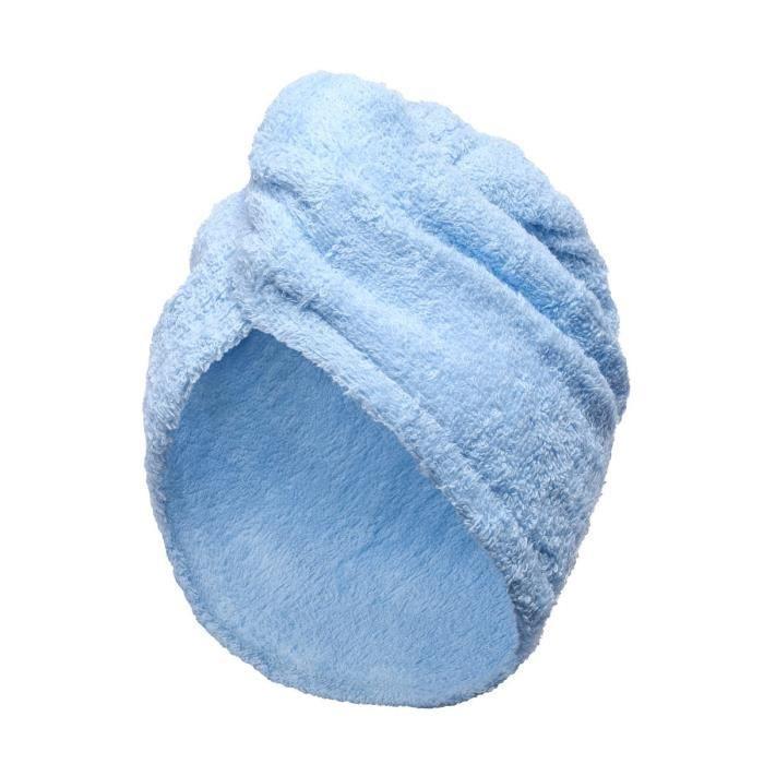 LINANDELLE - Serviette de tête coton éponge fermeture élastique TURBAN - Bleu marine - Adulte Femme