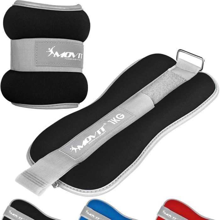 MOVIT Bandes lestées pour poignets 2x1kg, néoprène noir + tissu éponge