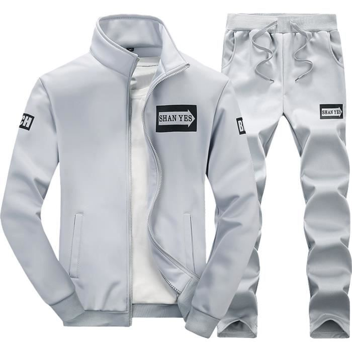 Automne Hiver Épaissir hommes Sweat-shirt Top Pantalons Ensembles sport Survêtement Suit gris