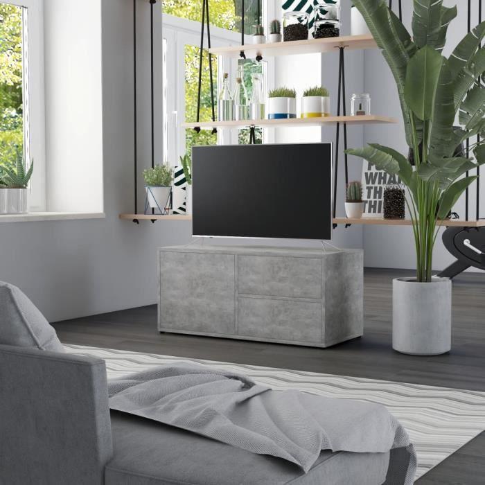 318[Modern Design] Meuble HI-FI MODERNE Meuble de Télévision Armoire SALON Gris béton 80x34x36 cm Aggloméré FR,80 x 34 x 36 cm -Haut