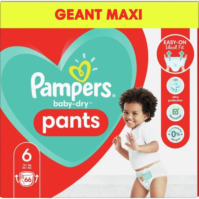 Pampers Baby-Dry Pants Couches-Culottes Taille 4, 66 Culottes