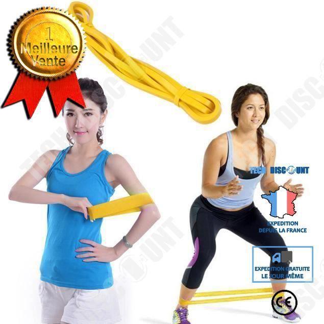 TD® Bande Élastique de Cross-fit -Harnais de résistance- Bande de latex Body gym Extenseur- Entraînement fitness Multifonction Jaune