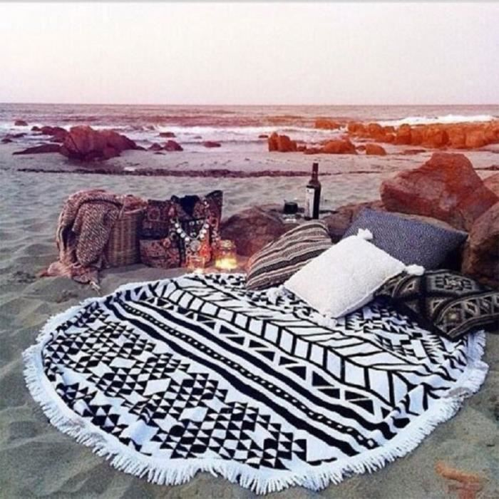 creative frang coton ponge ronde serviette de plage achat vente serviette de plage les. Black Bedroom Furniture Sets. Home Design Ideas