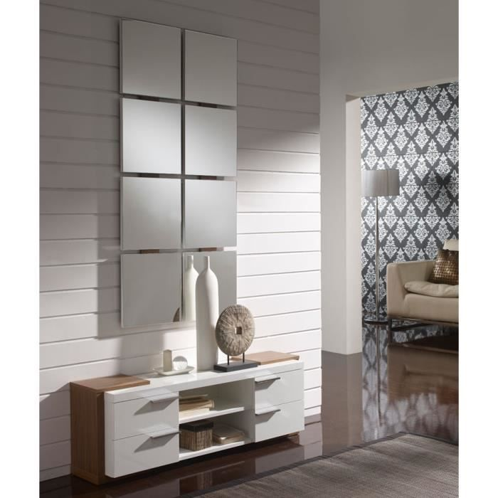 meuble d 39 entr e blanc noyer miroir nave taille l 120 x l 29 x h 40 couleur marketing. Black Bedroom Furniture Sets. Home Design Ideas