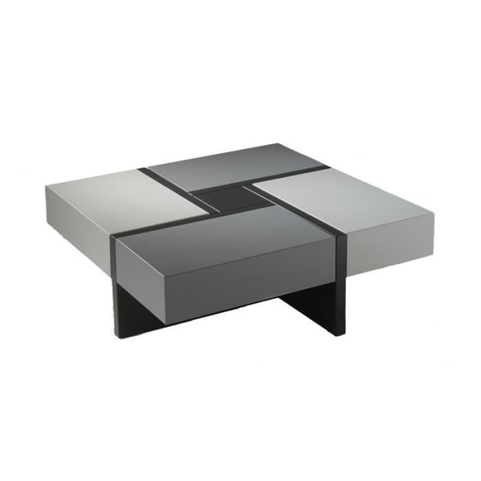 Table basse carr e laque grise laque noire quadro l - Table basse carree blanc laque ...