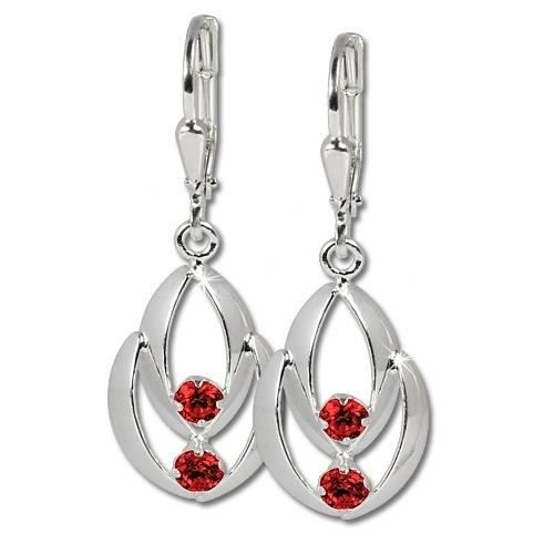 SilberDream Boucles doreilles Glamour zircon rouge - argent sterling 925 pour femme