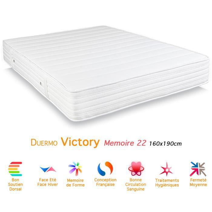 matelas duermo victory m moire de forme 22 160x190 achat vente matelas cdiscount. Black Bedroom Furniture Sets. Home Design Ideas