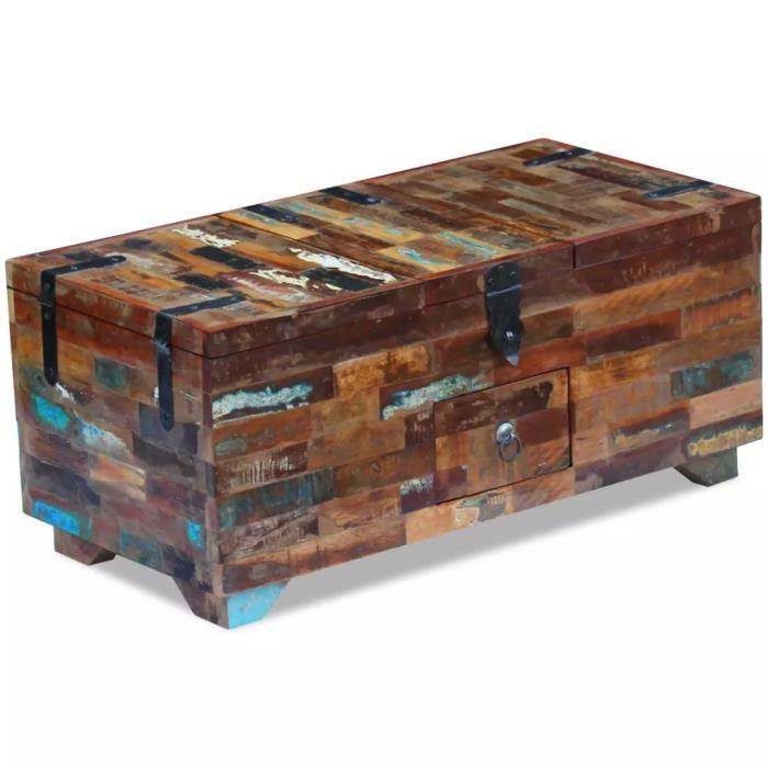 coffre table basse bois de recuperation massif 80x40x35 cm avec trois compartiments de rangement et un tiroircoffre table basse
