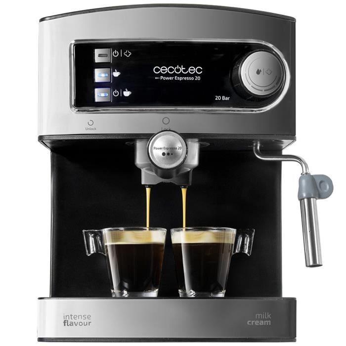 Machine Café Expresso Combiné Cafetière Filtre Mousseur Lait Crème 20 Bars Noir