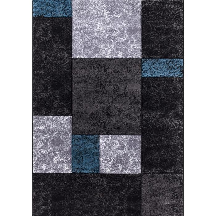 tapis de salon lima 330 bleu gris et noir 80x1 achat vente tapis 100 polypropyl ne. Black Bedroom Furniture Sets. Home Design Ideas
