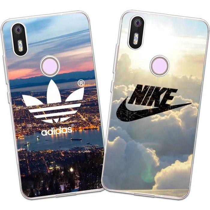 2 X Coque Wiko View 2, Nike et Adidas Doux Souple TPU Silicone Housse Étui Pour Wiko View 2