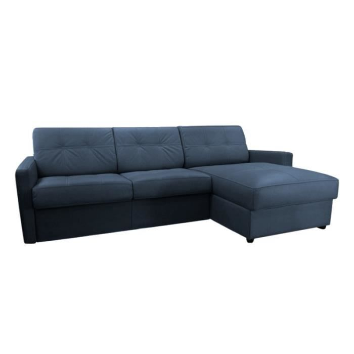 canap lit d 39 angle tetris microfibre bleu 160x190 achat vente canap sofa divan. Black Bedroom Furniture Sets. Home Design Ideas