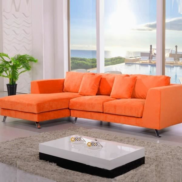 canap d 39 angle plumes cine citta orange achat vente. Black Bedroom Furniture Sets. Home Design Ideas