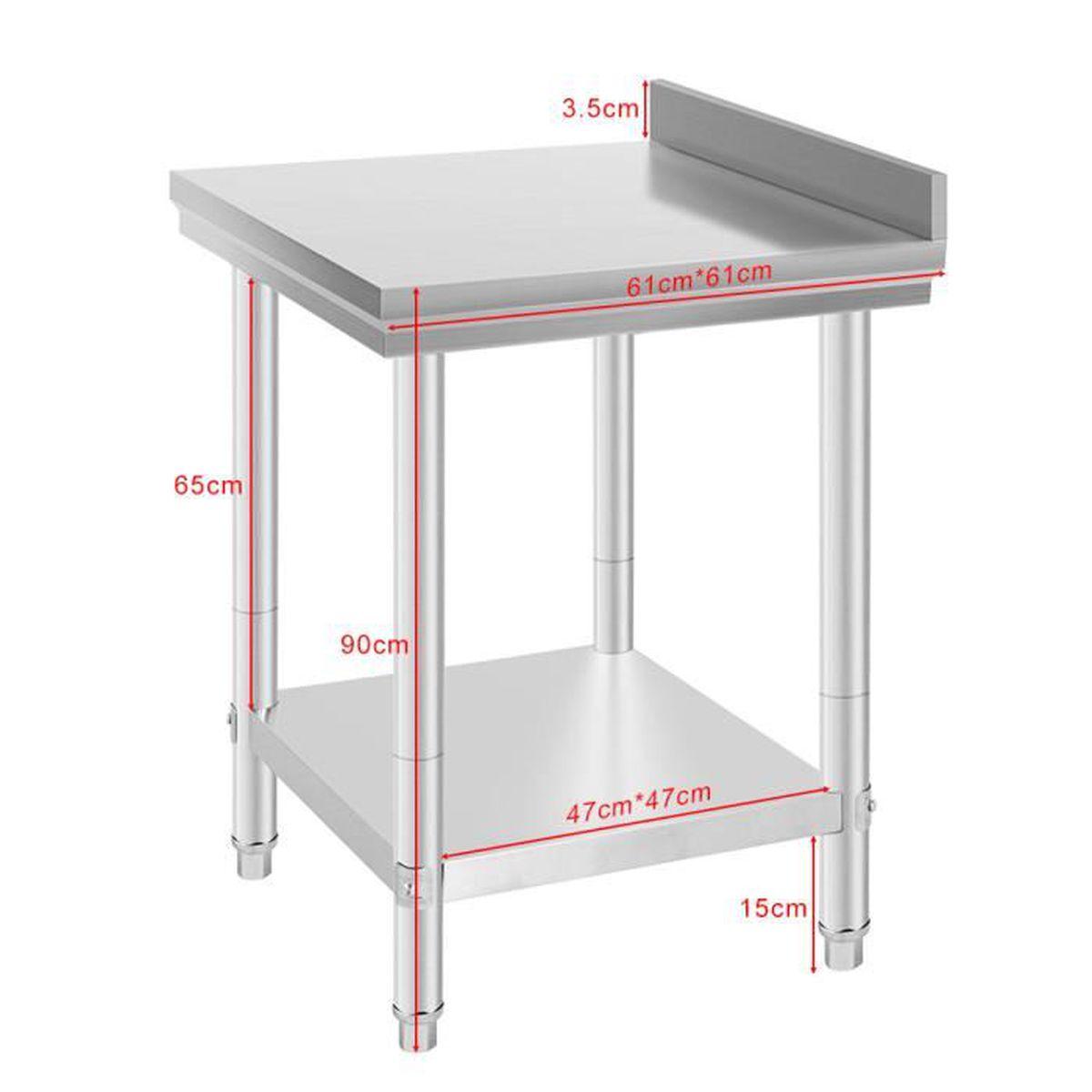 Table Coulissante Sous Plan De Travail table de travail inox premium 61*61*90 cm