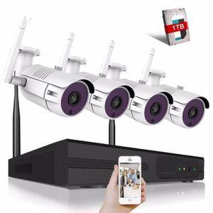 CAMÉRA DE SURVEILLANCE 4CH sans fil système de vidéosurveillance 720p HD