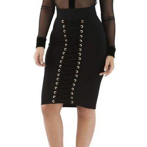 JUPE Femmes Noir haute taille Œillets Jupe Corset (lc71