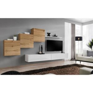 MEUBLE TV Meuble TV mural SWITCH X design, coloris blanc bri