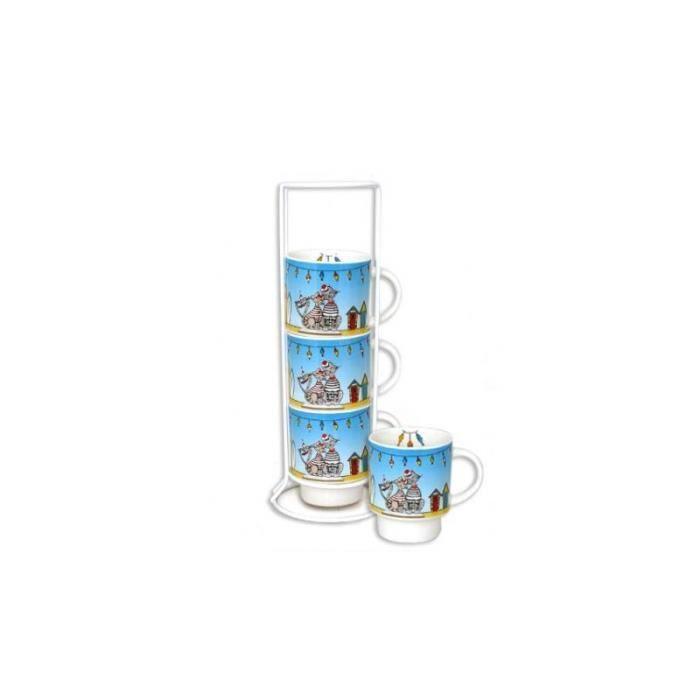 Mugs, tasses & verres - Set de 4 mugs sur colonne Roxy - 200 mL - Céramique