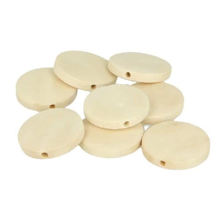 Perle bois rond plat 25mm 18 pièces - Artémio Marron