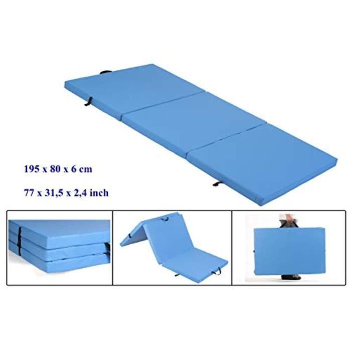 Housse Materiel AWTZC tapis de sol souple, tapis de gymnastique pliable, tapis de sport, tapis de gymnastique pliants, 195 cm x 8 cm