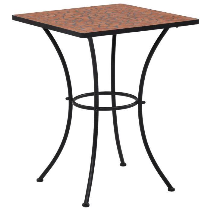 Table de bistro mosaïque Terre cuite 60 cm Céramique-HEN