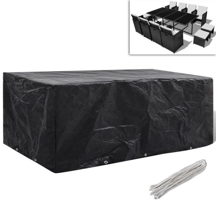 Housse de meuble de jardin Résine tressée 10 ?illets 229x113 cm-Housse De Protection Étanche Pour Meubles de Jardin Table Banc 8