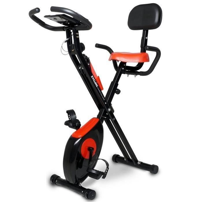 Vélo d'Appartement Pliable Professionnel - Spinning, Cardio, Fitness, Ergomètre avec Bandes Élastiques