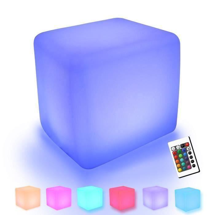 2PCS Cube Tabouret Siège extérieur imperméable LED– Light Meuble + Table Basse Tabouret 30cm Lumineux Multicolore + Télécommande