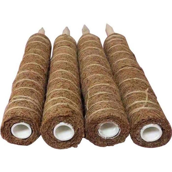 Poteaux de noix de coco Support Tuteurs pour Plantes Grimpantes, bâton de palmier de jardinage pour plantes grimpantes lianes 4PCS
