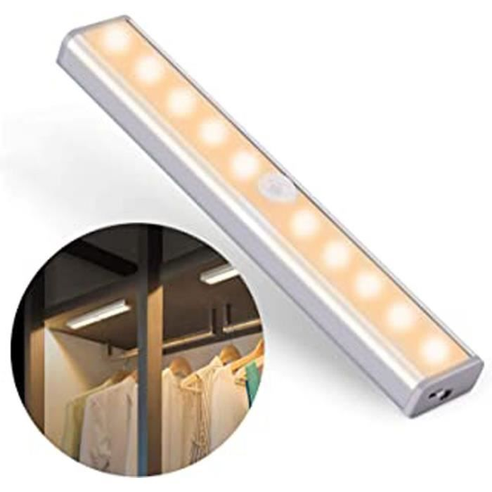 Lampe D'Armoire, Détecteur De Movement Capteur De Lumière Lampe De Placard 10 Led Veilleuse 2 Bandes Magnétiques Usb Rechargeable Po