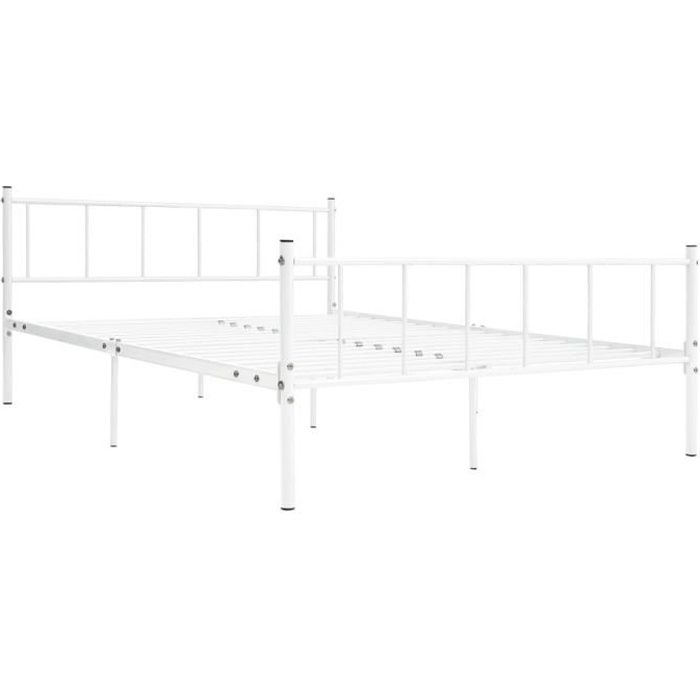 Jardin - Lit adulte Structure de lit Classique - Lit pour 2 personnes Lit complet Blanc - Métal - 180 x 200 cm Style ancien 55434