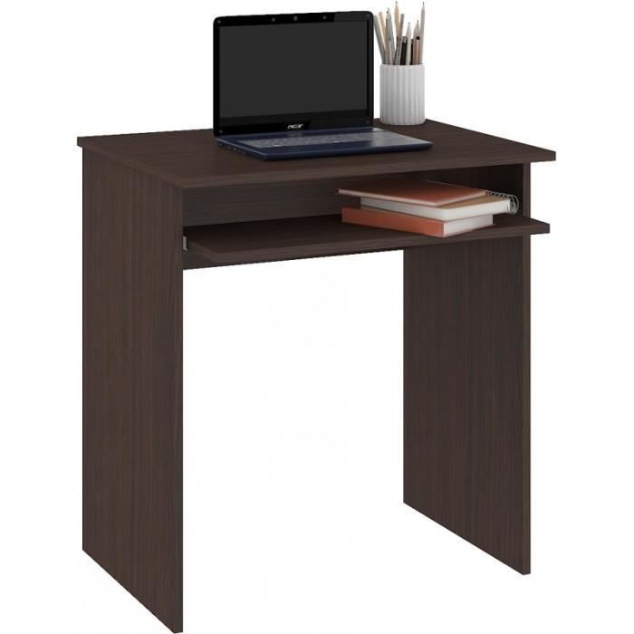 MALAWI - Bureau informatique compacte 68x74x51 cm - Support coulissant clavier - Design moderne - Table ordinateur portable - Wenge