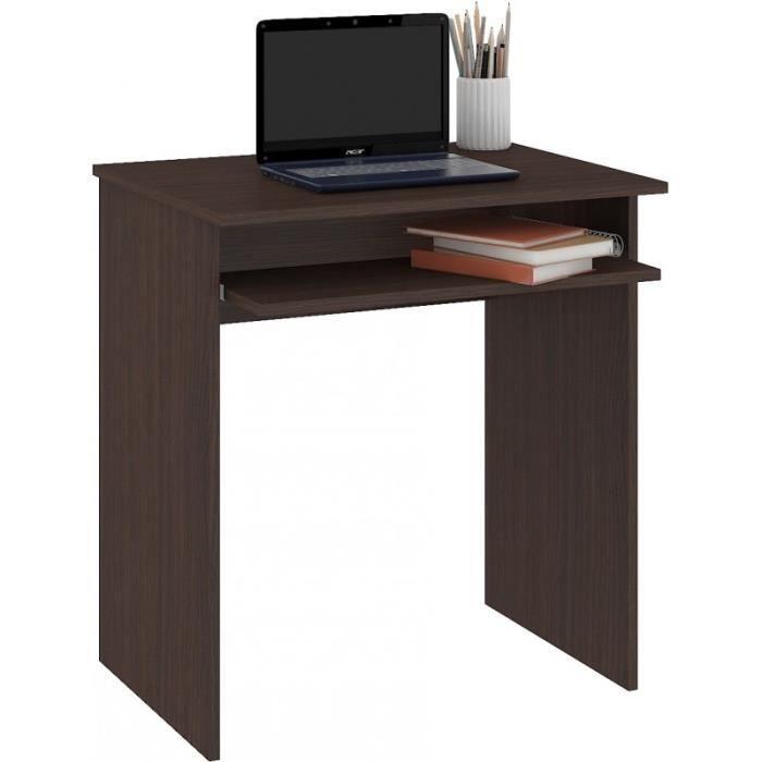 MALAWI - Bureau informatique compacte 68x74x51 cm - Support coulissant clavier - Design moderne - Table ordinateur portable - Wenge