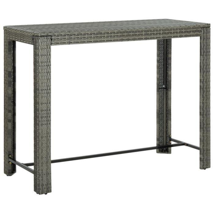 #MEUBLE#4439Ergonomique Table de bar de jardin Design Scandinave Décor - Mange-Debout Table de jardin Gris 140,5x60,5x110,5 cm Résin