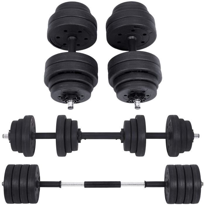 BANC DE MUSCULATION SONGMICS Kit halt&egraveres Musculation, Poids Ajustable, avec Barre d&rsquoExtension suppl&eacutementair273