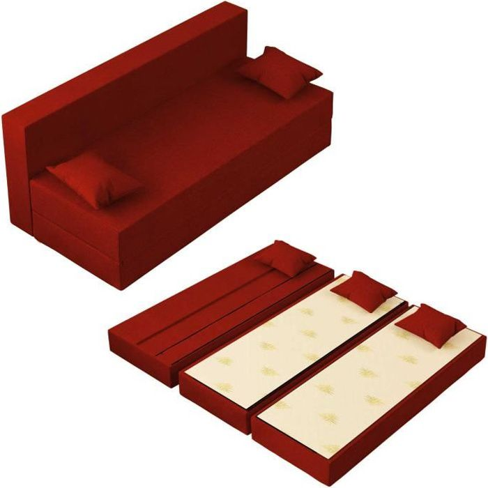 Canapé Lit Tetris Convertible Modulable Réversible 3 places - Tissu dehoussable et lavable Couleur Rouge Pompéien