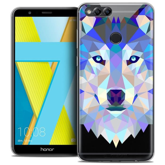 Coque Gel Honor 7X (5.9 ) Extra Fine Polygon Animals - Loup