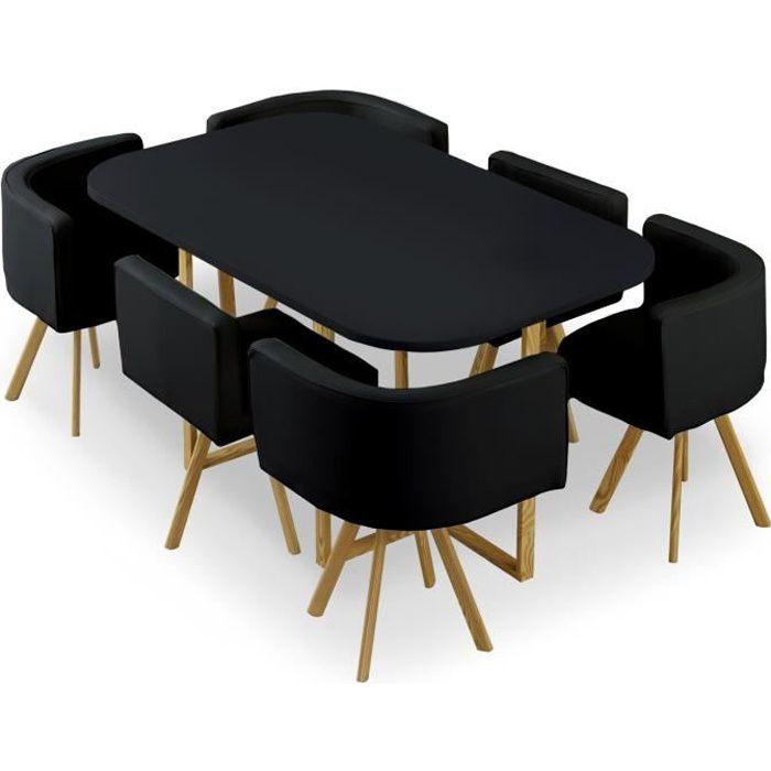 Table et chaises Oslo XL Noir et Simili Noir