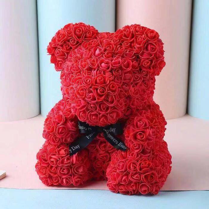Fleur de rose en ours - Pour cadeau d'anniversaire et saint valentin - Rouge