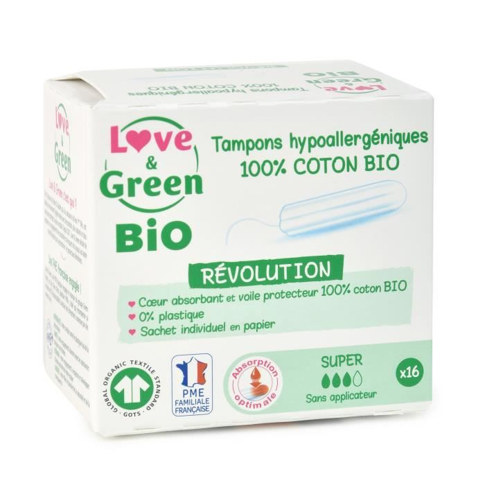 LOVE & GREEN Tampons hypoallergéniques - 100% coton BIO certifiés GOTS - -SUPER- Digital - 16 tampons