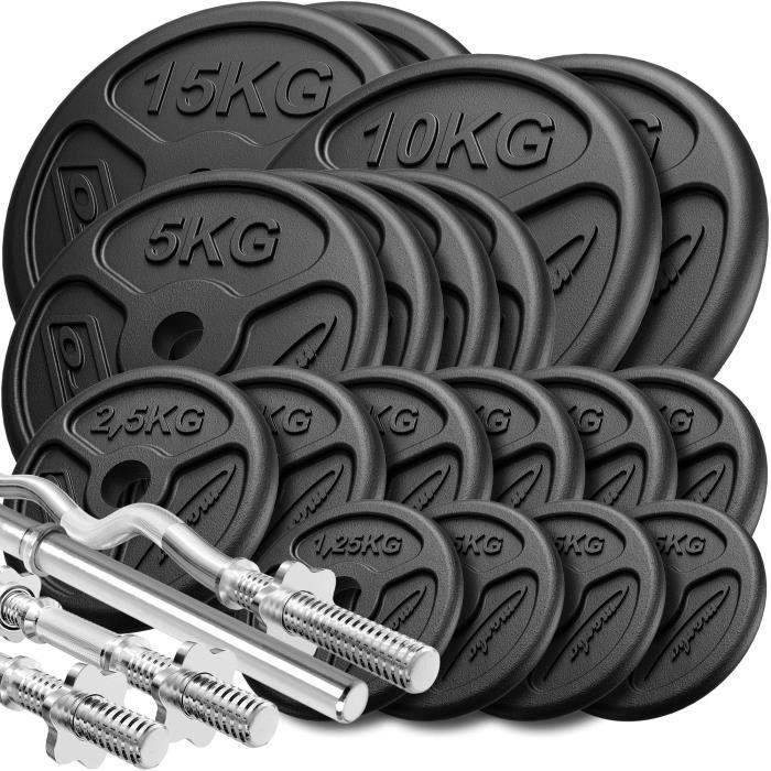 Marbo Sport Set d'haltères renforcés et de poids minces ø30mm 113 kg
