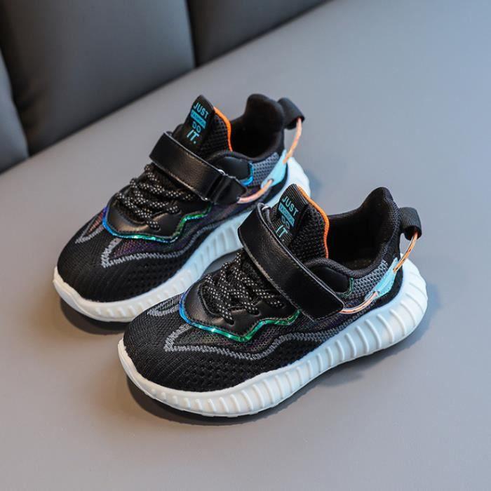 Nouveau-Mode Chaussures de Basket Rayé Pour Enfant Fille-Garcon-Taille 26-37 -avec Velcro-Tige en Simili Cuir