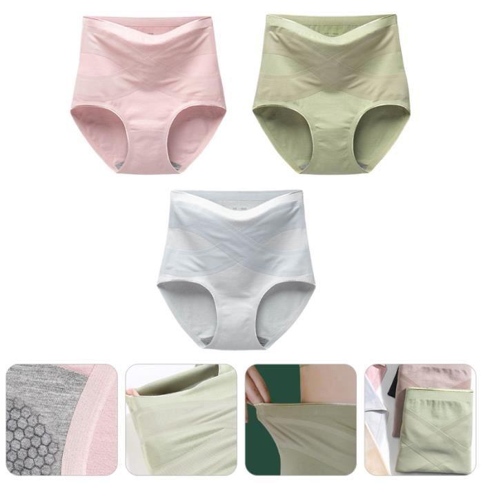 3pcs coton taille haute sous-vêtements femmes pantalon de running - legging de running - collant de running running - athletisme