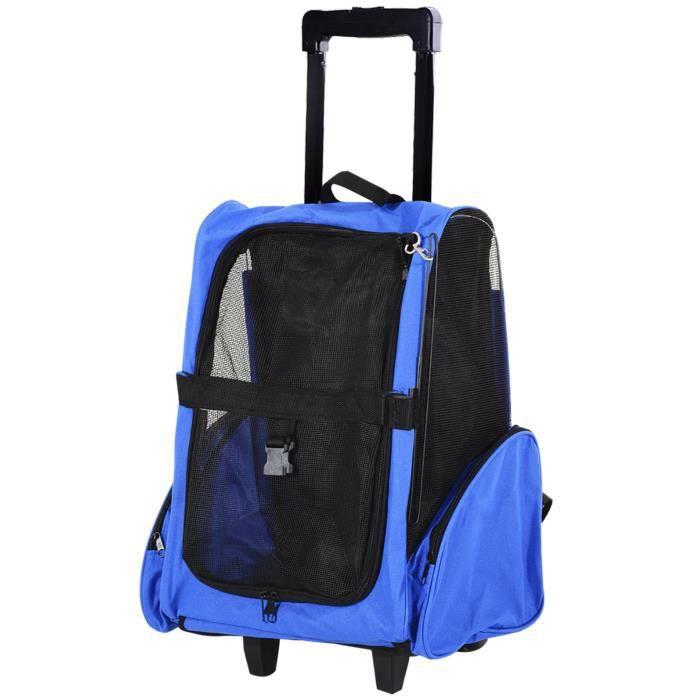 2 en 1 trolley chariot sac à dos sac de transport à roulettes pour chien chat 11