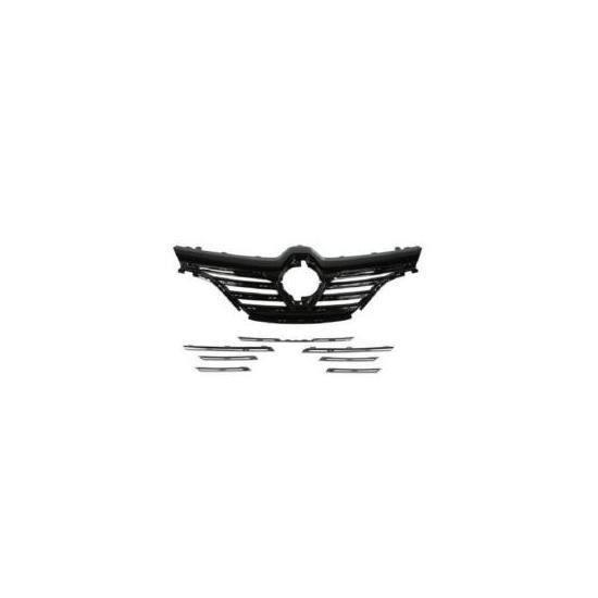 Calandre radiateur avant pour RENAULT MEGANE IV, depuis 2016, Noire avec 7 moulures chromées, Neuve.